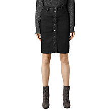 Buy AllSaints Jolie Button Skirt, Black Online at johnlewis.com