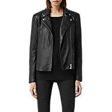 Buy AllSaints Colwick Leather Biker Jacket, Black Online at johnlewis.com