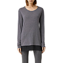 Buy AllSaints Stripe T-Shirt, Ink Marl/Chalk White Online at johnlewis.com