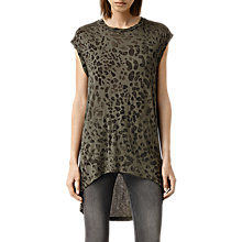Buy AllSaints Mangla Step Top, Khaki Green Online at johnlewis.com
