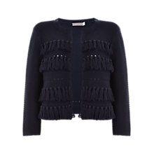Buy Mint Velvet Chunky Fringe Cardigan, Navy Online at johnlewis.com