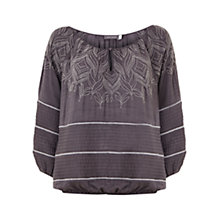 Buy Mint Velvet Embroidered Top, Grey Smoke Online at johnlewis.com
