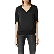 Buy AllSaints Elwar Panel Jumper, Cinder Black Marl Online at johnlewis.com