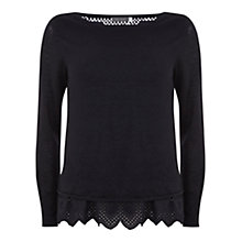 Buy Mint Velvet Layered Broderais Jumper, Blue/Ivory Online at johnlewis.com