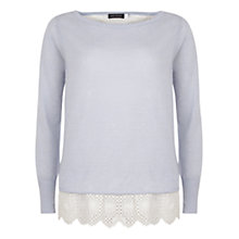 Buy Mint Velvet Layered Broderais Jumper, Blue/ Ivory Online at johnlewis.com