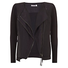 Buy Mint Velvet Zip Front Knitted Top, Black Online at johnlewis.com