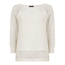 Buy Mint Velvet Broderaise Knitted Top, Ivory Online at johnlewis.com