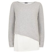 Buy Mint Velvet Shirt Tail Ribbed Jumper, Silver/Ivory Online at johnlewis.com