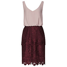 Buy Reiss Rose Lace Skirt Dress, Nude/Claret Online at johnlewis.com