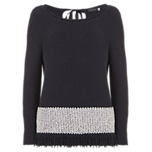 Buy Mint Velvet Textured Fringe Jumper, Navy/Ivory Online at johnlewis.com
