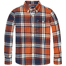 Buy Tommy Hilfiger Boys' Herringbone Check Shirt, Orange Online at johnlewis.com