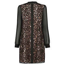 Buy Oasis Lace Chiffon Sleeve Dress, Black Online at johnlewis.com