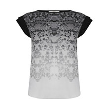 Buy Oasis Ombre Floral Top, Black/Multi Online at johnlewis.com