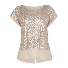 Buy Coast Ruvern Sequin Top, Taupe Online at johnlewis.com