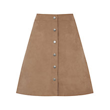 Buy Oasis Suedette Button Front Skirt, Tan Online at johnlewis.com