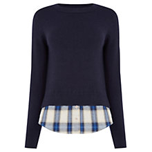 Buy Oasis Check Shirt Tails Jumper, Navy Online at johnlewis.com