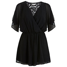 Buy Miss Selfridge Lace Back Playsuit, Black Online at johnlewis.com