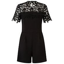 Buy Miss Selfridge Lace Trim Playsuit, Black Online at johnlewis.com