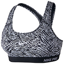 Buy Nike Pro Classic Padded Palm Print Sports Bra, Black/White Online at johnlewis.com