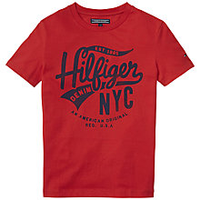 Buy Tommy Hilfiger Boys' Cotton Logo T-Shirt, Red Online at johnlewis.com