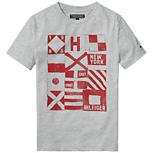 Buy Tommy Hilfiger Boys' Logo Cotton T-Shirt, Grey Online at johnlewis.com