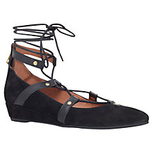 Buy Carvela Live Wedge Heeled Lace Up Pumps, Black Suede Online at johnlewis.com