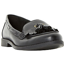 Buy Dune Giuseppe Low Heeled Tassel Loafers, Black Leather Online at johnlewis.com