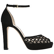 Buy L.K. Bennett Simone Block Heeled Sandals, Black Suede Online at johnlewis.com