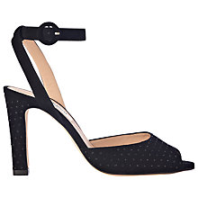 Buy L.K. Bennett Sansa Block Heeled Sandals, Black Suede Online at johnlewis.com
