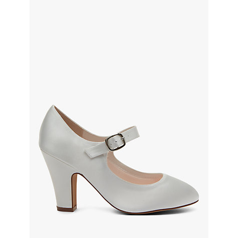 Buy Rainbow Club Madeline Block Heeled MJ Shoes, Ivory Satin Online at johnlewis.com