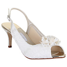 Buy Rainbow Club Sienna Slingback Peep Toe Court Shoes, Ivory Satin & Lace Online at johnlewis.com