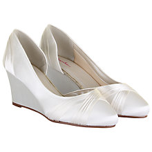 Buy Rainbow Club Tamzin Asymmetric Wedge Heeled Court Shoes, Ivory Satin Online at johnlewis.com