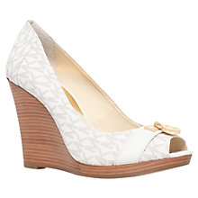 Buy MICHAEL Michael Kors Hamilton Wedge Heeled Sandals, Cream Online at johnlewis.com