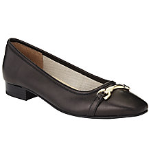 Buy John Lewis Henia Ballerina Court Shoes, Black Leather Online at johnlewis.com