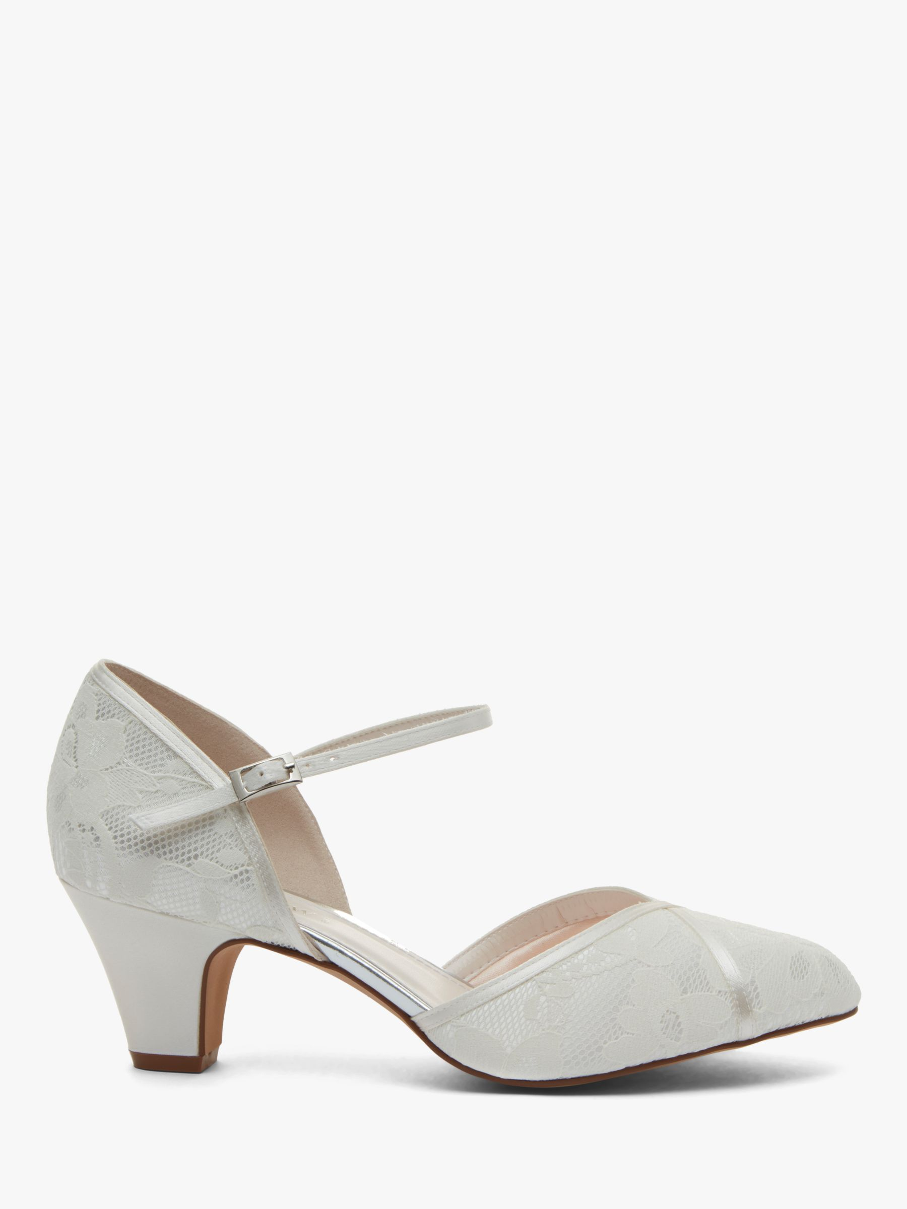Rainbow Club Rainbow Club Shirley Extra Wide Fit Court Shoes, Ivory Satin