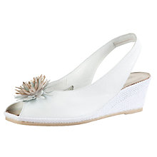 Buy John Lewis Rose Peep Toe Wedge Heeled Sandals, White Online at johnlewis.com