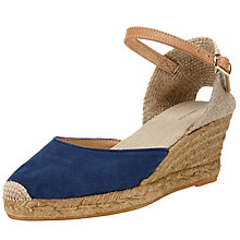 Buy John Lewis Lloret Wedge Heeled Espadrilles, Navy/Brown Online at johnlewis.com