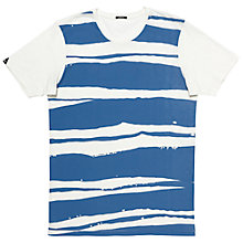 Buy Denham Cap Stripe MOJ T-Shirt, Antique White/Blue Online at johnlewis.com
