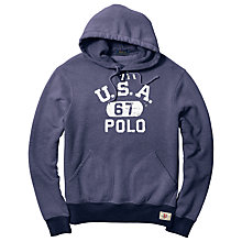 Buy Polo Ralph Lauren Fleece Graphic Hoodie, Dark Cobalt Online at johnlewis.com