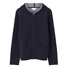 Buy Jigsaw Doubled Faced Hooded Full Zip Jumper, Navy Online at johnlewis.com