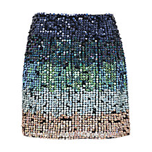 Buy French Connection Cosmic Beam Sequin Skirt, Utility Blue Multi Online at johnlewis.com