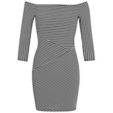Buy Miss Selfridge Petite Striped Bardot Dress, Black/White Online at johnlewis.com