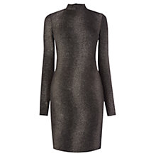 Buy Oasis Faux Snake Crinkle Foil High Neck Dress, Black Online at johnlewis.com