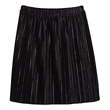 Buy Mango Pleated Velvet  Skirt, Black Online at johnlewis.com