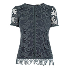 Buy Oasis Lace Fringe T-Shirt, Mid Grey Online at johnlewis.com