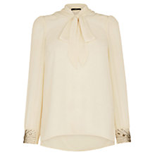 Buy Oasis Embellished Pussybow Blouse, Natural Online at johnlewis.com