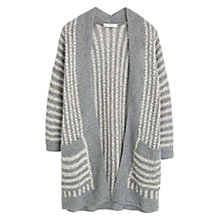 Buy Mango Striped Cotton Cardigan, Medium Grey Online at johnlewis.com