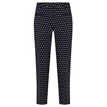 Buy Mint Velvet Pearl Print Capri Trousers, Navy Online at johnlewis.com