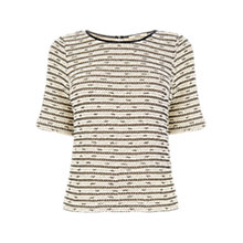 Buy Oasis Boucle Cut and Sew Top, Black/White Online at johnlewis.com