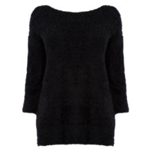 Buy Oasis Fluffy V Back Jumper, Black Online at johnlewis.com